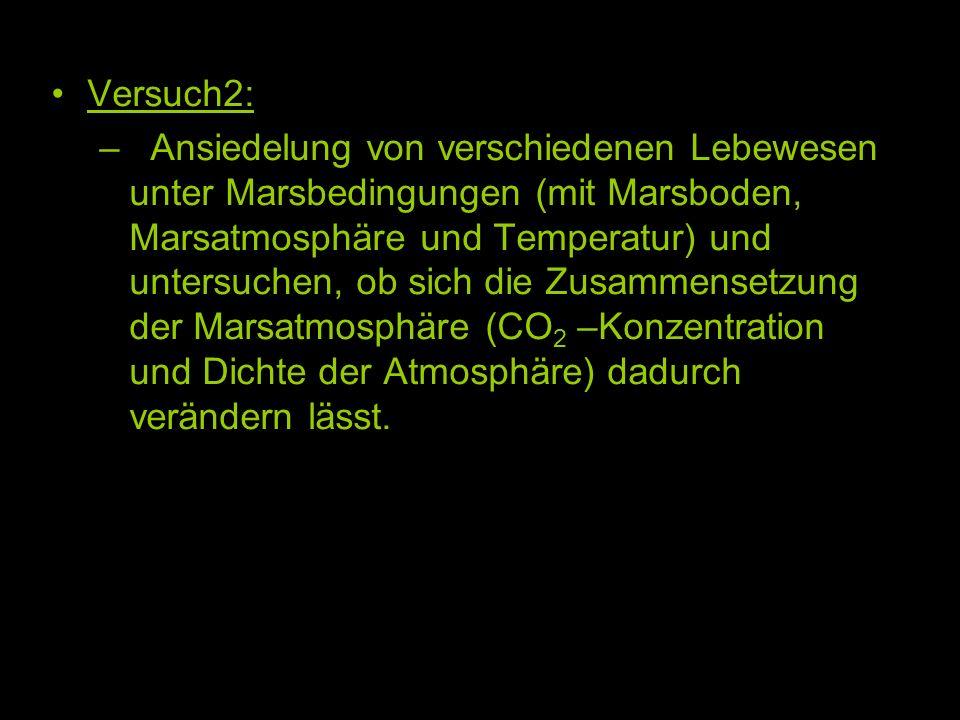 Versuch2: – Ansiedelung von verschiedenen Lebewesen unter Marsbedingungen (mit Marsboden, Marsatmosphäre und Temperatur) und untersuchen, ob sich die Zusammensetzung der Marsatmosphäre (CO 2 –Konzentration und Dichte der Atmosphäre) dadurch verändern lässt.