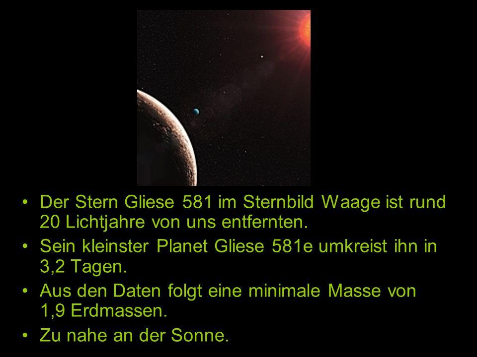 Der Stern Gliese 581 im Sternbild Waage ist rund 20 Lichtjahre von uns entfernten. Sein kleinster Planet Gliese 581e umkreist ihn in 3,2 Tagen. Aus de