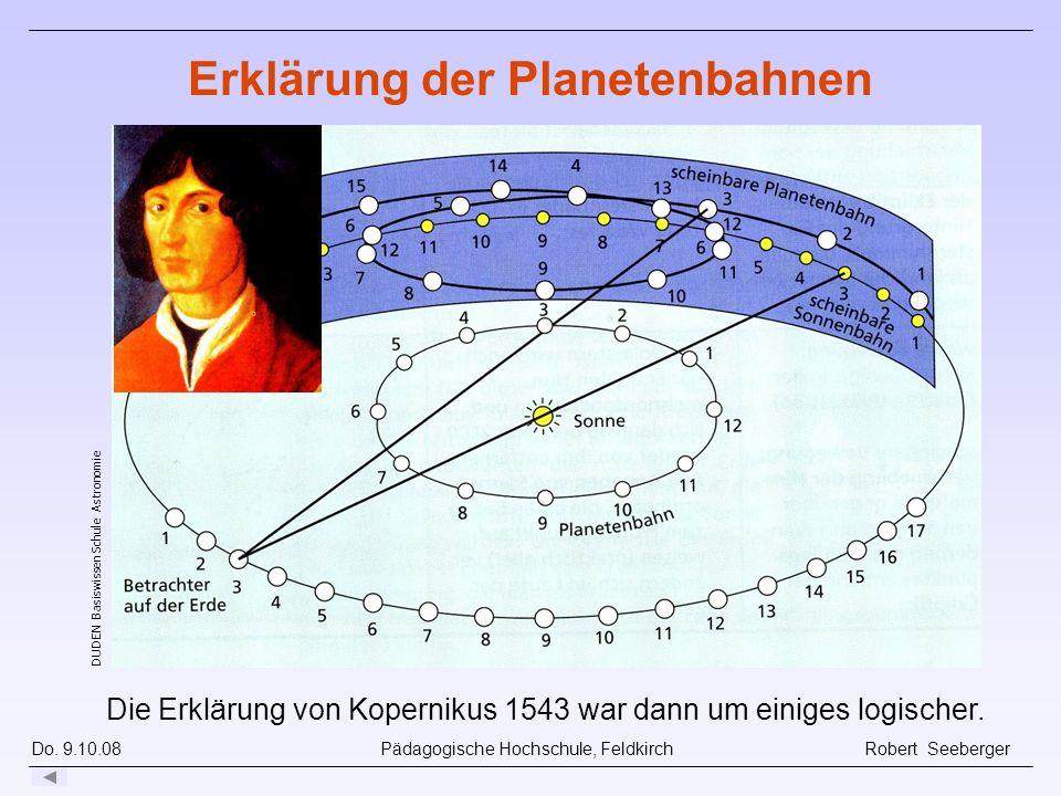Do. 9.10.08 Pädagogische Hochschule, Feldkirch Robert Seeberger Die Erklärung von Kopernikus 1543 war dann um einiges logischer. DUDEN Basiswissen Sch
