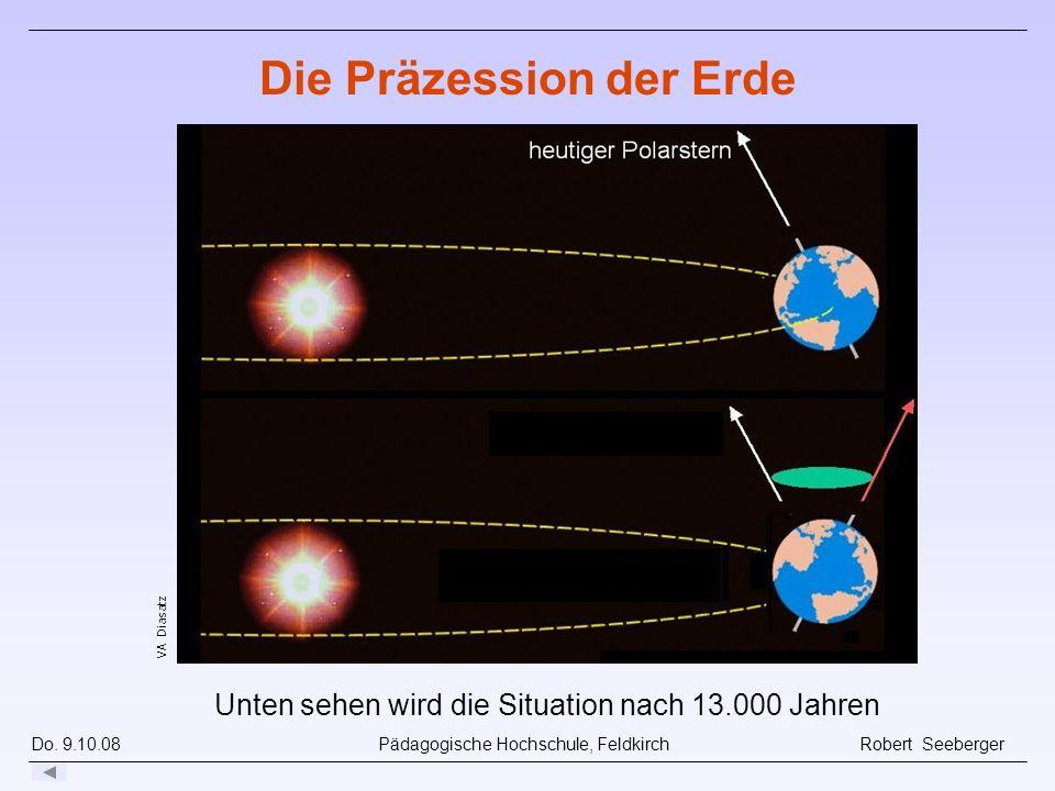 Do. 9.10.08 Pädagogische Hochschule, Feldkirch Robert Seeberger Unten sehen wird die Situation nach 13.000 Jahren VA Diasatz Die Präzession der Erde