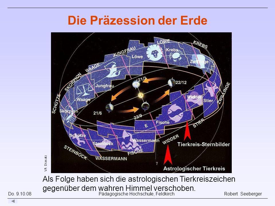 Do. 9.10.08 Pädagogische Hochschule, Feldkirch Robert Seeberger Als Folge haben sich die astrologischen Tierkreiszeichen gegenüber dem wahren Himmel v