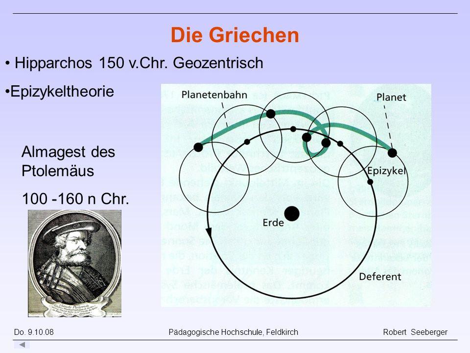 Do. 9.10.08 Pädagogische Hochschule, Feldkirch Robert Seeberger Hipparchos 150 v.Chr. Geozentrisch Epizykeltheorie Die Griechen Almagest des Ptolemäus