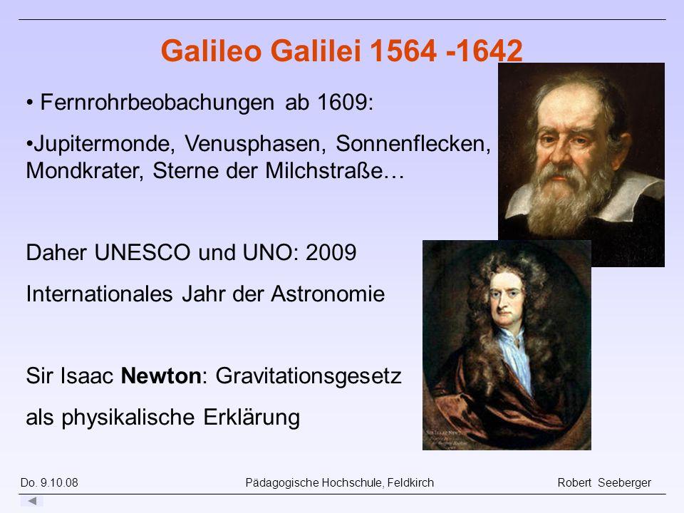 Do. 9.10.08 Pädagogische Hochschule, Feldkirch Robert Seeberger Fernrohrbeobachungen ab 1609: Jupitermonde, Venusphasen, Sonnenflecken, Mondkrater, St