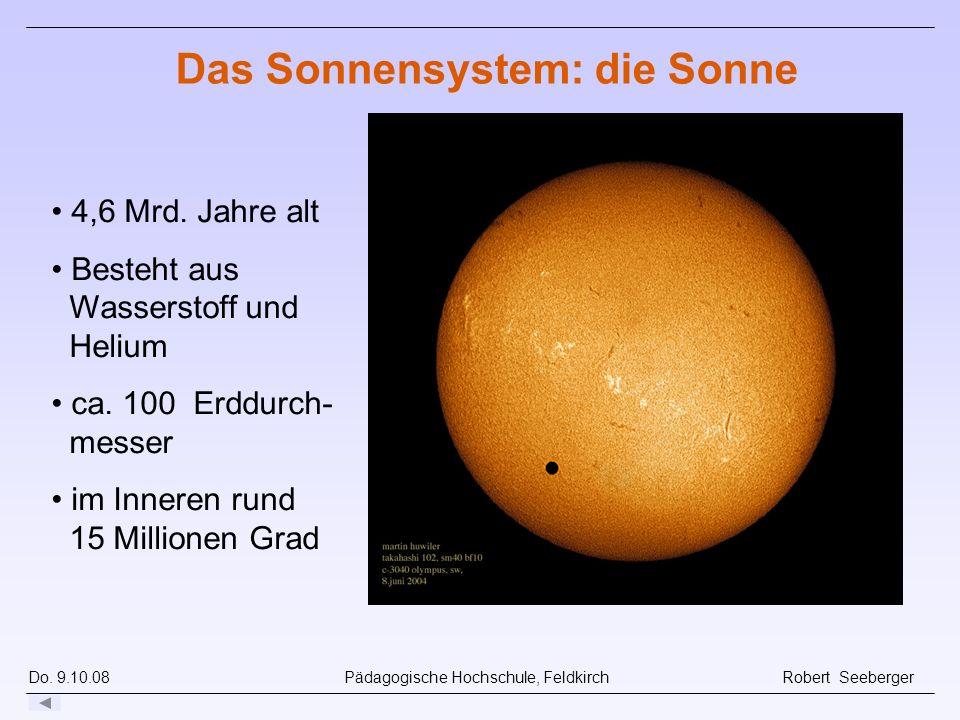 Do. 9.10.08 Pädagogische Hochschule, Feldkirch Robert Seeberger Sonne im h-Alpha -Licht, Soho (NASA) Das Sonnensystem: die Sonne 4,6 Mrd. Jahre alt Be
