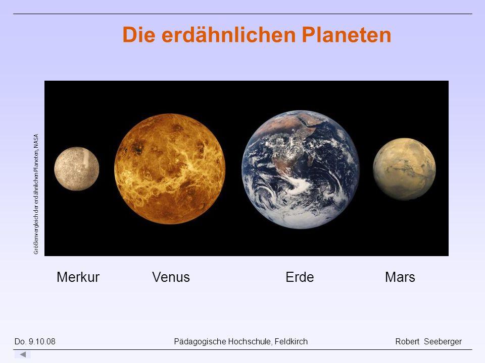 Do. 9.10.08 Pädagogische Hochschule, Feldkirch Robert Seeberger MerkurVenusErdeMars Die erdähnlichen Planeten Größenvergleich der erdähnlichen Planete