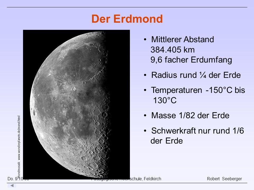 Do. 9.10.08 Pädagogische Hochschule, Feldkirch Robert Seeberger Der Erdmond Mondmosaik www.wonderplanets.de/mond.html Mittlerer Abstand 384.405 km 9,6