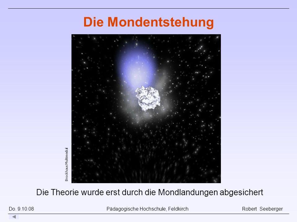 Do. 9.10.08 Pädagogische Hochschule, Feldkirch Robert Seeberger Die Theorie wurde erst durch die Mondlandungen abgesichert Die Mondentstehung Brockhau