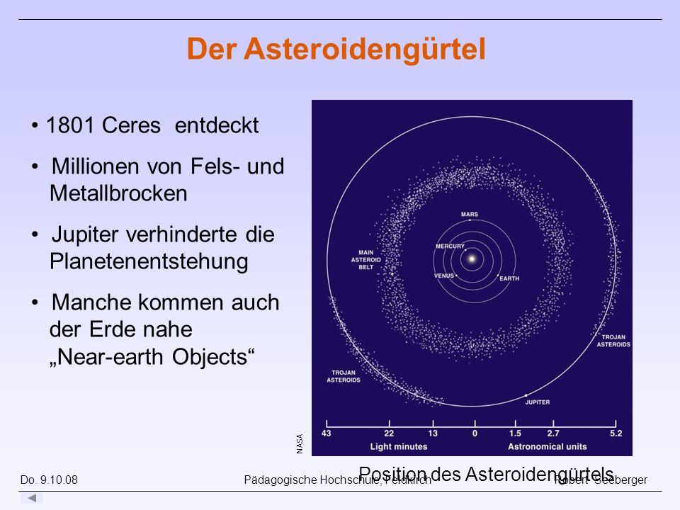 Do. 9.10.08 Pädagogische Hochschule, Feldkirch Robert Seeberger NASA Position des Asteroidengürtels Der Asteroidengürtel 1801 Ceres entdeckt Millionen