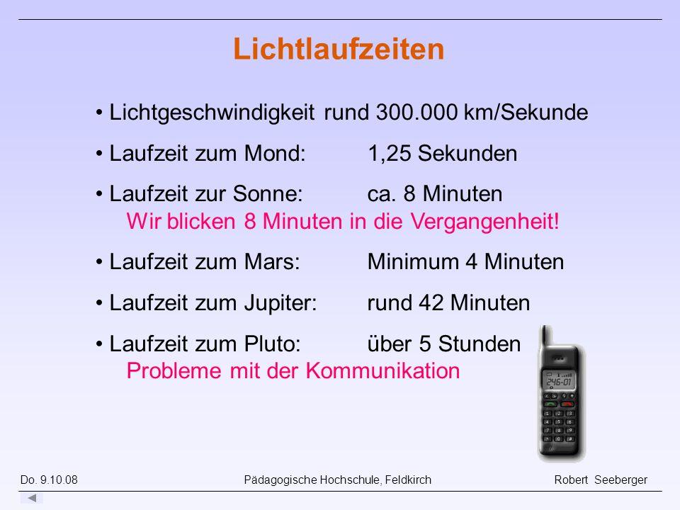 Do. 9.10.08 Pädagogische Hochschule, Feldkirch Robert Seeberger Lichtlaufzeiten Lichtgeschwindigkeit rund 300.000 km/Sekunde Laufzeit zum Mond: 1,25 S