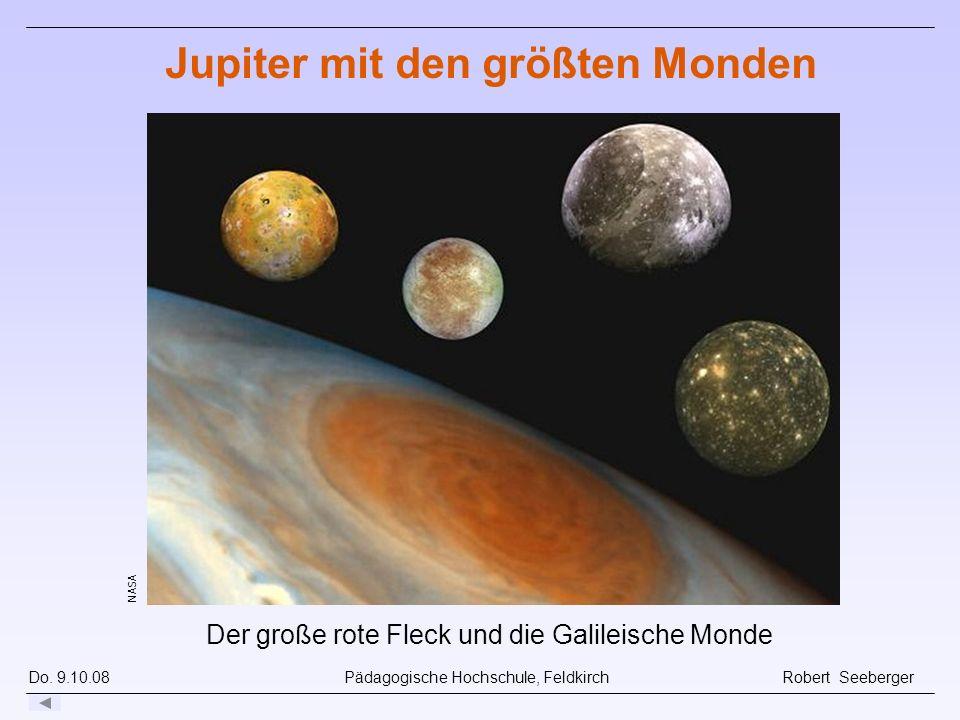Do. 9.10.08 Pädagogische Hochschule, Feldkirch Robert Seeberger NASA Der große rote Fleck und die Galileische Monde Jupiter mit den größten Monden