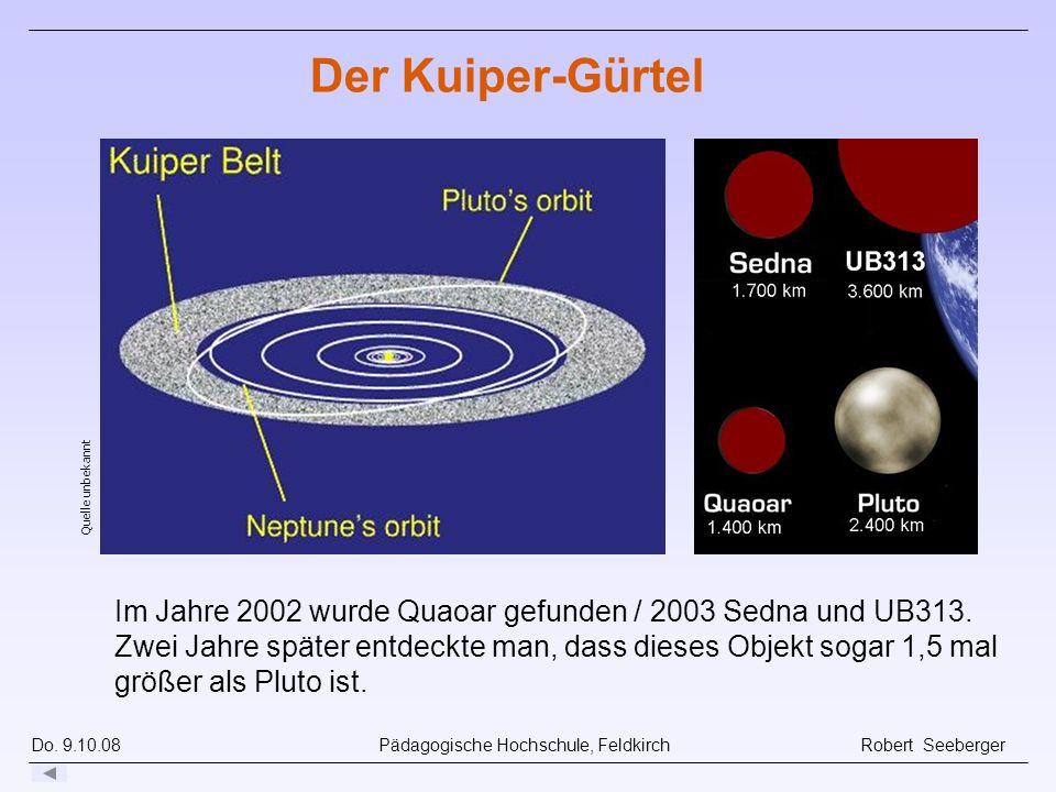 Do. 9.10.08 Pädagogische Hochschule, Feldkirch Robert Seeberger Quelle unbekannt Der Kuiper-Gürtel Im Jahre 2002 wurde Quaoar gefunden / 2003 Sedna un