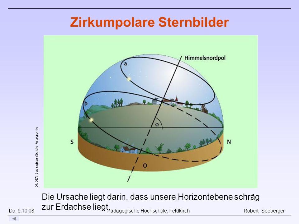 Do. 9.10.08 Pädagogische Hochschule, Feldkirch Robert Seeberger Die Ursache liegt darin, dass unsere Horizontebene schräg zur Erdachse liegt. Erstellt