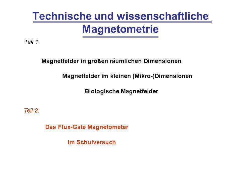 Technische und wissenschaftliche Magnetometrie Magnetfelder in großen räumlichen Dimensionen Magnetfelder im kleinen (Mikro-)Dimensionen Biologische M