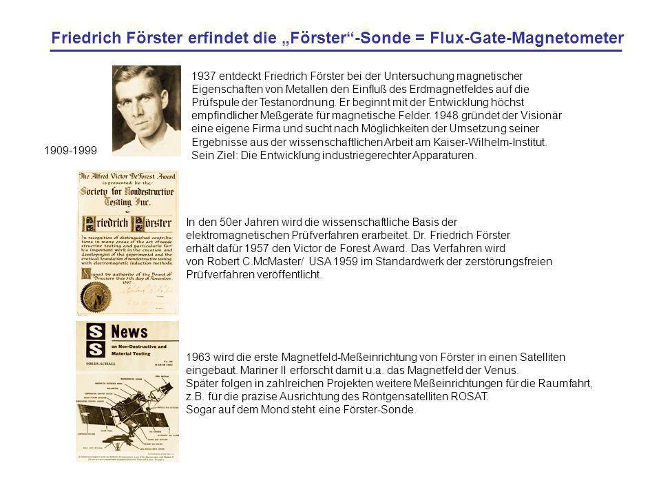 1963 wird die erste Magnetfeld-Meßeinrichtung von Förster in einen Satelliten eingebaut. Mariner II erforscht damit u.a. das Magnetfeld der Venus. Spä