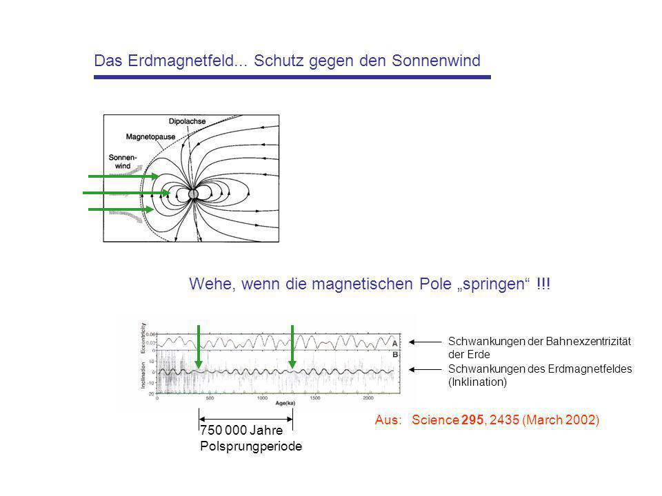 Das Erdmagnetfeld... Schutz gegen den Sonnenwind Wehe, wenn die magnetischen Pole springen !!! Schwankungen der Bahnexzentrizität der Erde Schwankunge