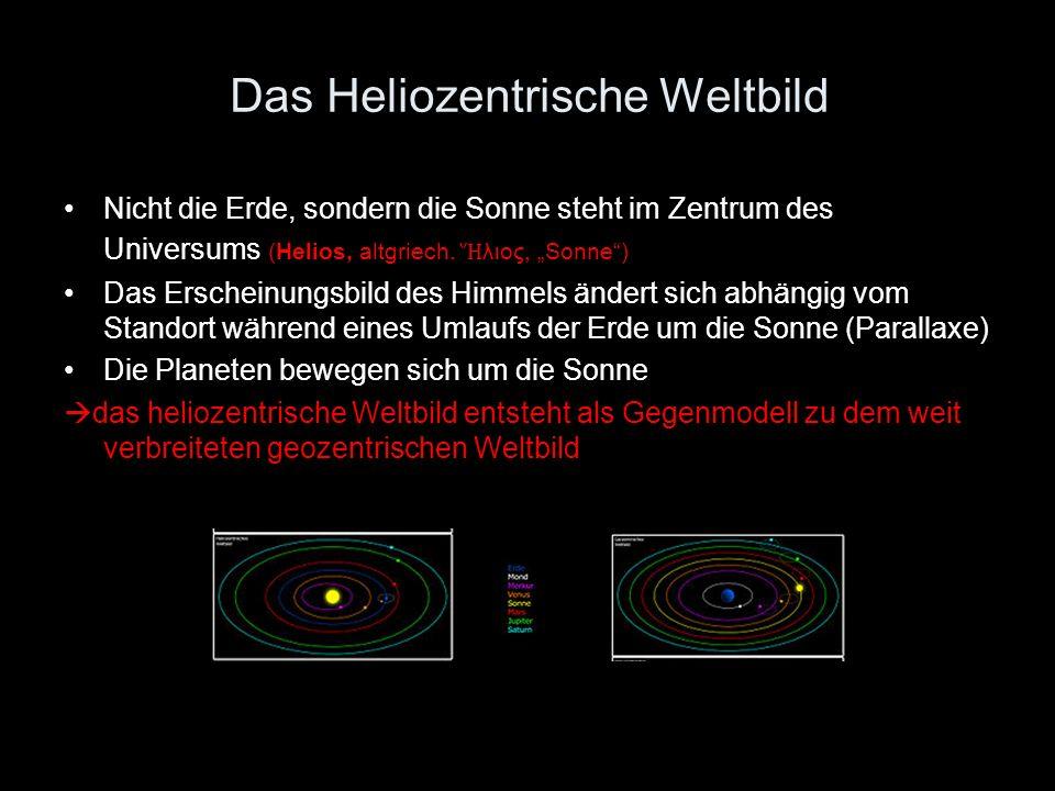 Das Heliozentrische Weltbild Nicht die Erde, sondern die Sonne steht im Zentrum des Universums (Helios, altgriech. λιος, Sonne ) Das Erscheinungsbild