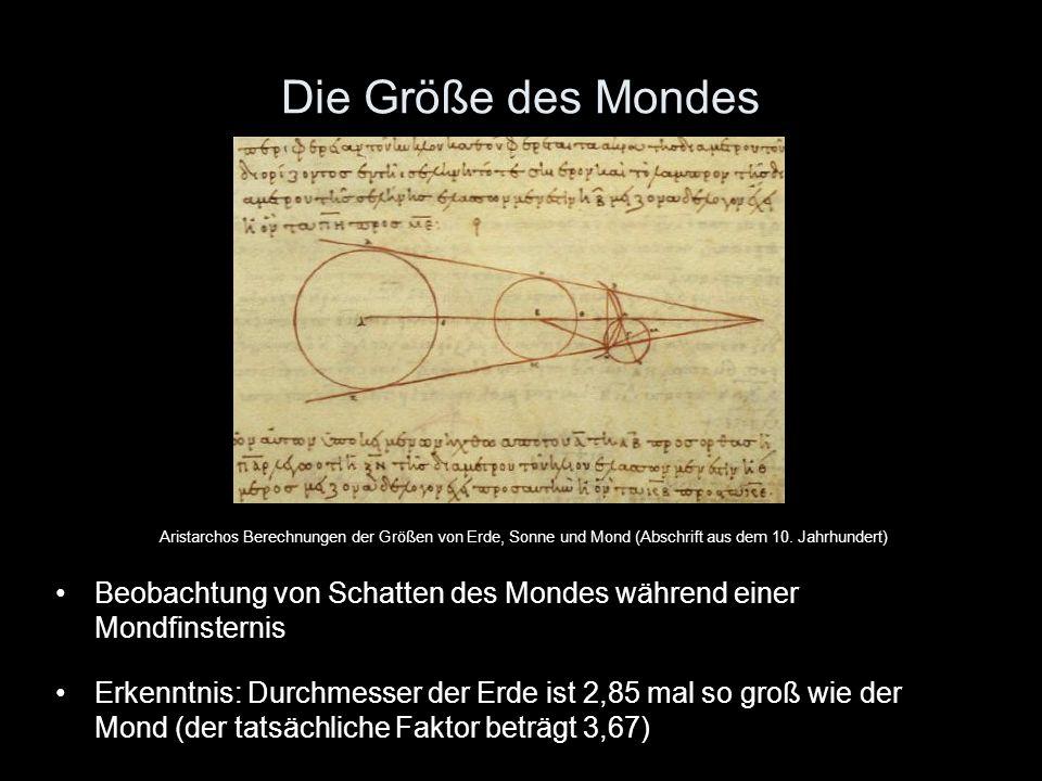 Die Größe des Mondes Aristarchos Berechnungen der Größen von Erde, Sonne und Mond (Abschrift aus dem 10. Jahrhundert) Beobachtung von Schatten des Mon