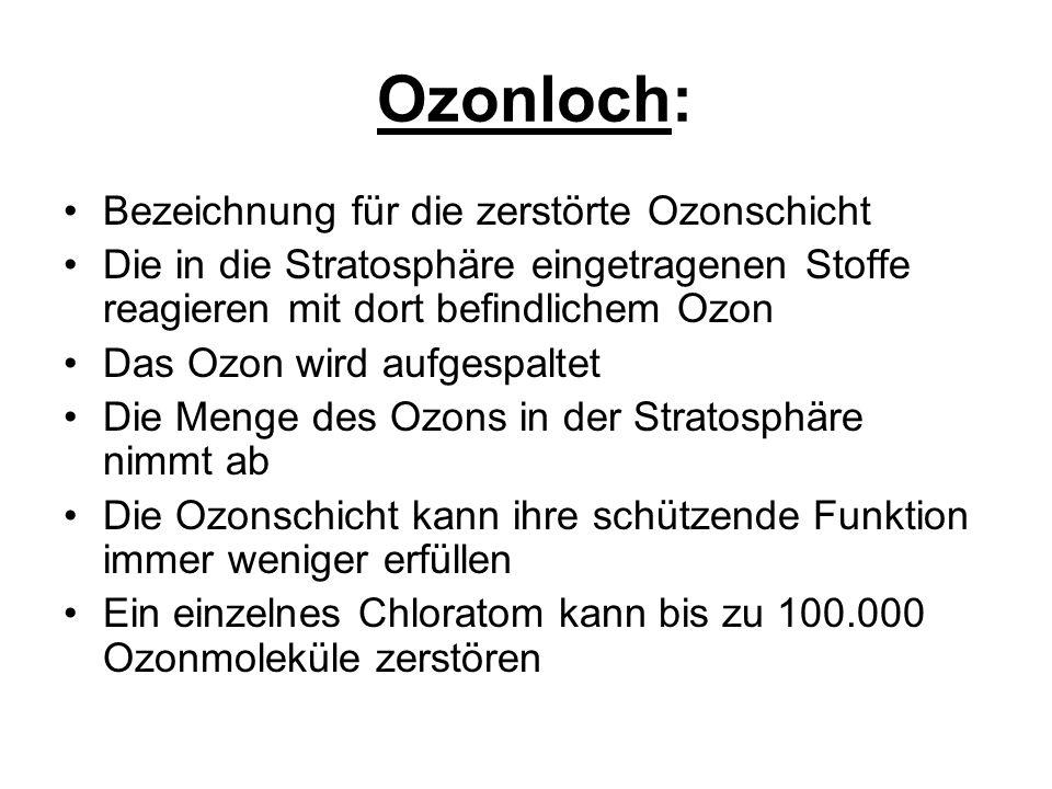 Ozonloch Hauptursache für die Schädigungen: die Fluor-Chlor- Kohlen- Wasserstoffe (FCKW) Cl + O3 ---------> ClO + O2 Chloratom + Ozon ---------> Chloroxid + Sauerstoff Ein einzelnes Chloratom kann bis zu 100.000 Ozonmoleküle zerstören!