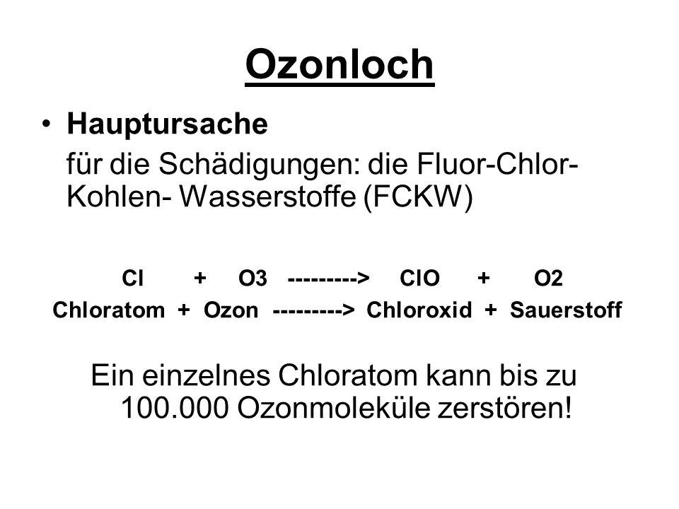 Ozonloch FCKW wird eingesetzt: als Kühlmittel in Kühlschränken, Klimaanlagen zur Herstellung von Gebrauchsartikel zur Herstellung von Kunststoffen als Treibgase in Spraydosen als Lösungsmittel in der Elektroindustrie und Elektronikindustrie in der chemischen Reinigung