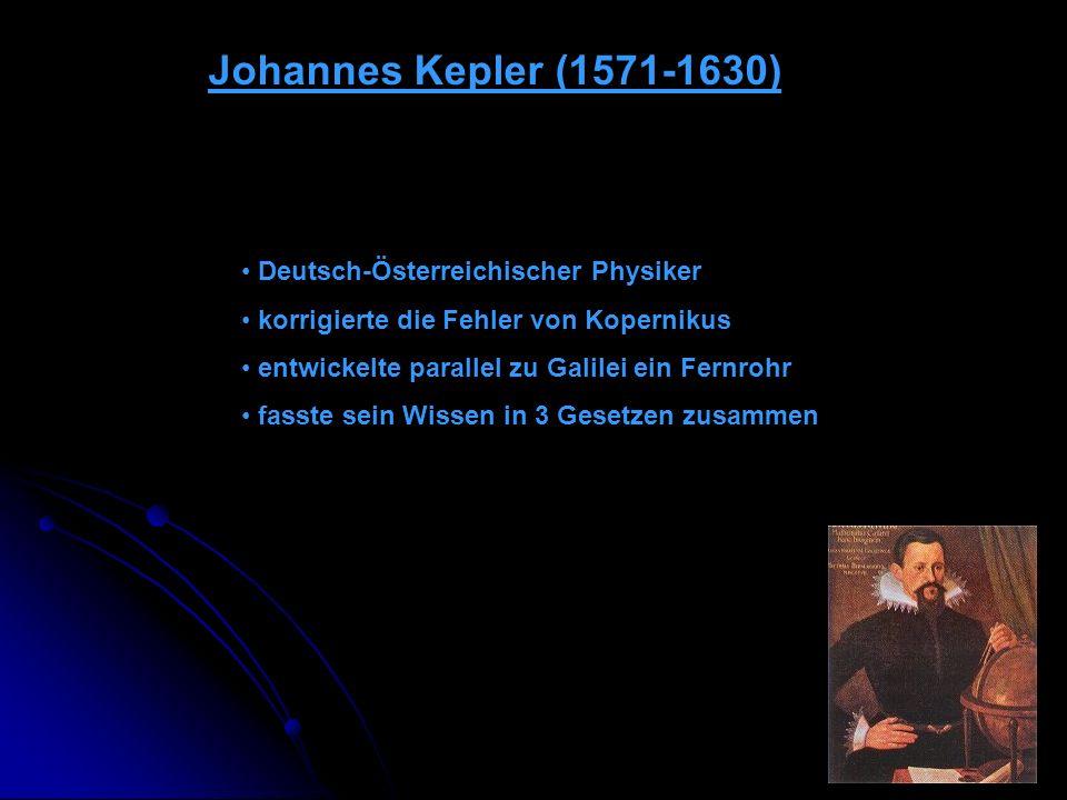 Johannes Kepler (1571-1630) Deutsch-Österreichischer Physiker korrigierte die Fehler von Kopernikus entwickelte parallel zu Galilei ein Fernrohr fasst