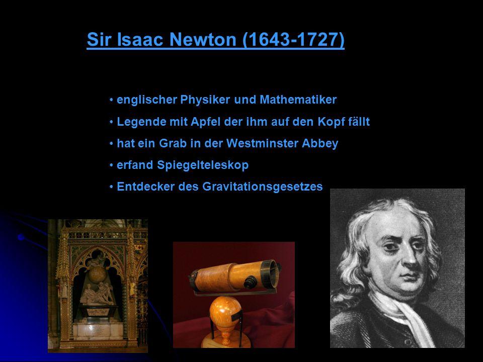 Sir Isaac Newton (1643-1727) englischer Physiker und Mathematiker Legende mit Apfel der ihm auf den Kopf fällt hat ein Grab in der Westminster Abbey e