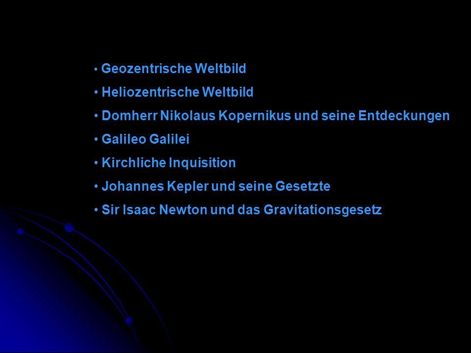Geozentrische Weltbild Heliozentrische Weltbild Domherr Nikolaus Kopernikus und seine Entdeckungen Galileo Galilei Kirchliche Inquisition Johannes Kep