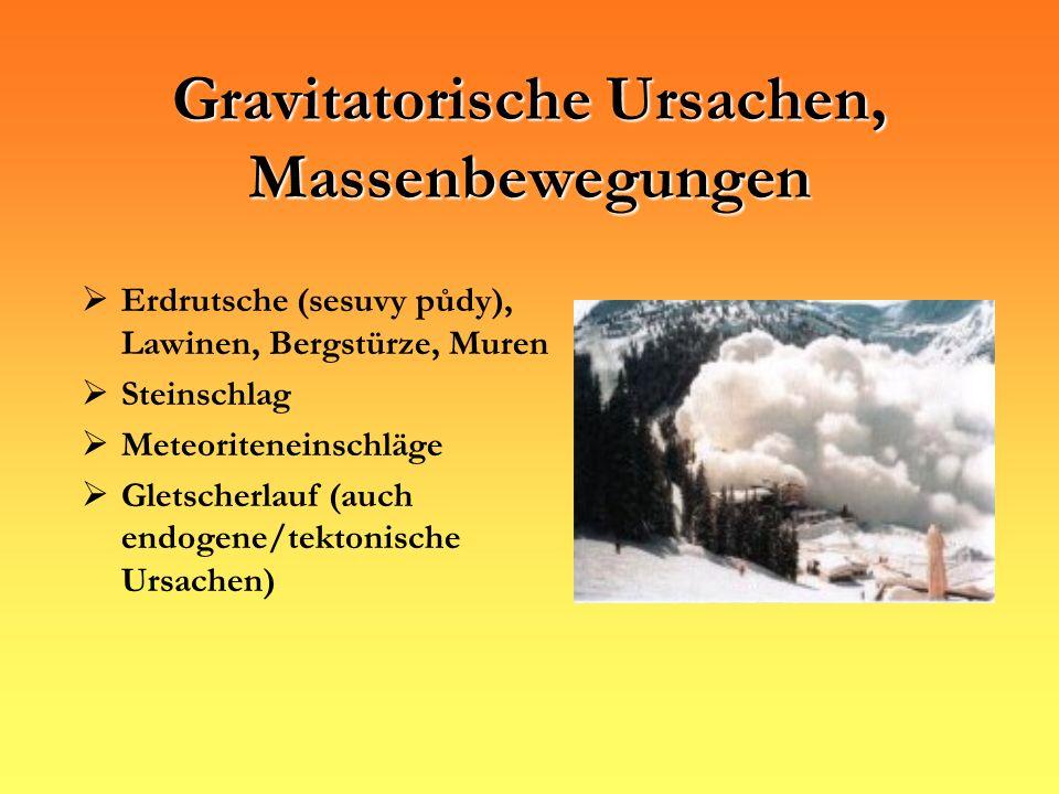 Gravitatorische Ursachen, Massenbewegungen Erdrutsche (sesuvy půdy), Lawinen, Bergstürze, Muren Steinschlag Meteoriteneinschläge Gletscherlauf (auch e