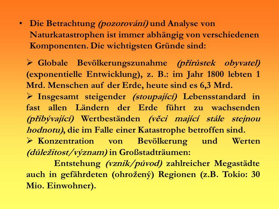Sonstige Ursachen Strudel (vír) Heuschreckeneinfall (invaze kobylek) Termitenbefall Ungeziefer (hmyz/havěť) Vorkommen (výskyt) bestimmter Krankheiten (z.