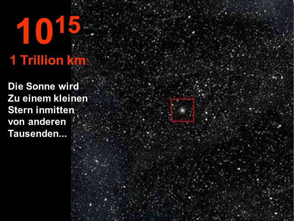 10 14 100 Billionen km Das Sonnensystem verschwindet in der Mitte des Universums...