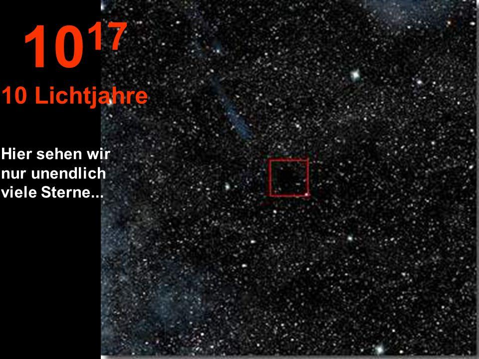Jetzt gelangen wir zu einer neuen Größenordnung, dem Lichtjahr Der Stern Sonne erscheint sehr klein.
