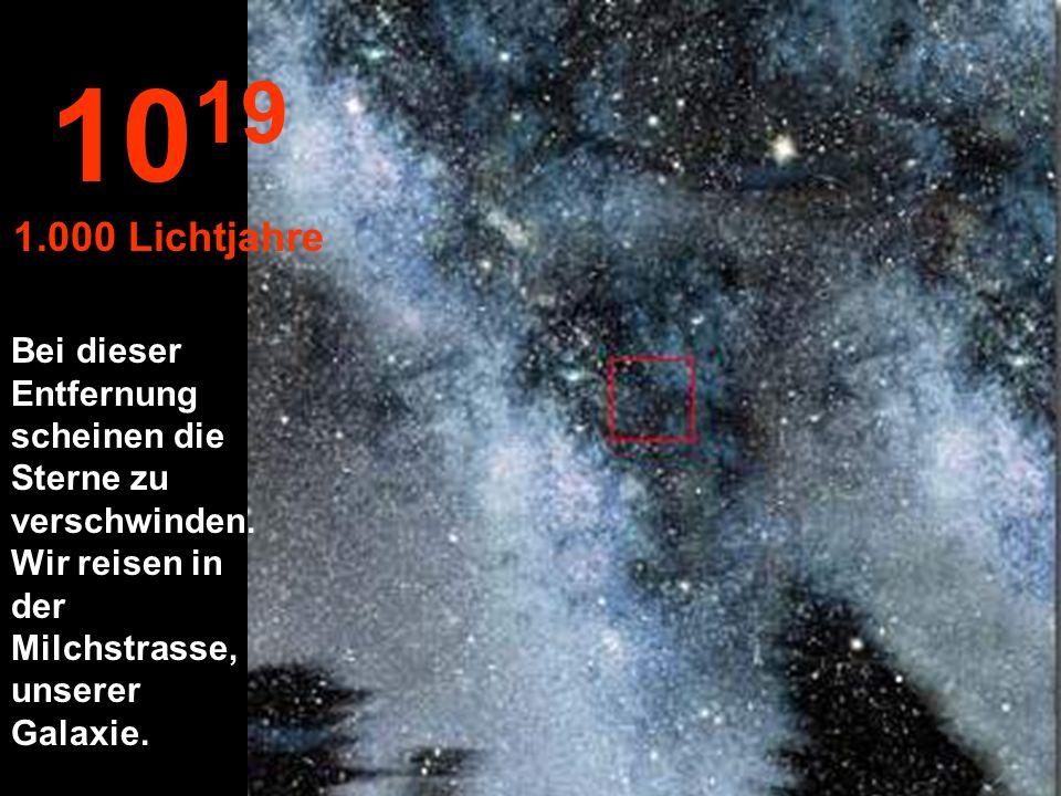 Nichts Nur Sterne und Sternnebel. 10 18 100 Lichtjahre