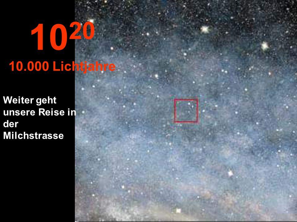 10 19 1.000 Lichtjahre Bei dieser Entfernung scheinen die Sterne zu verschwinden.