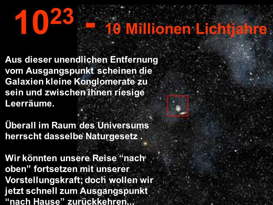 Aus dieser unglaublichen Entfernung können wir die Milchstrasse sehen und andere Galaxien...