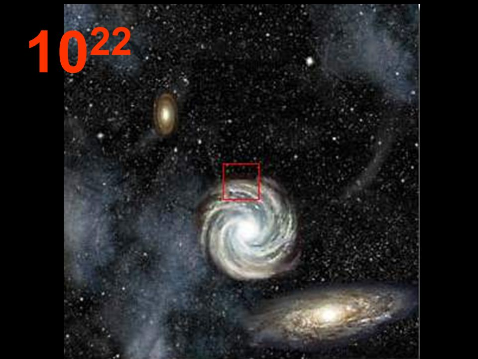 Aus dieser unendlichen Entfernung vom Ausgangspunkt scheinen die Galaxien kleine Konglomerate zu sein und zwischen ihnen riesige Leerräume.