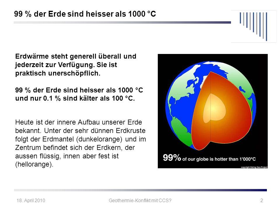 18. April 2010Geothermie-Konflikt mit CCS?2 Erdwärme steht generell überall und jederzeit zur Verfügung. Sie ist praktisch unerschöpflich. 99 % der Er