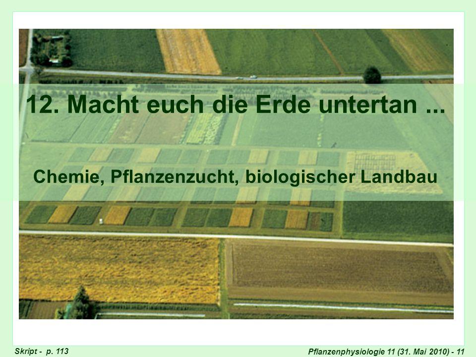 Pflanzenphysiologie 11 (31. Mai 2010) - 11 12. Macht euch die Erde untertan... Chemie, Pflanzenzucht, biologischer Landbau Titel 12: Macht euch die Er
