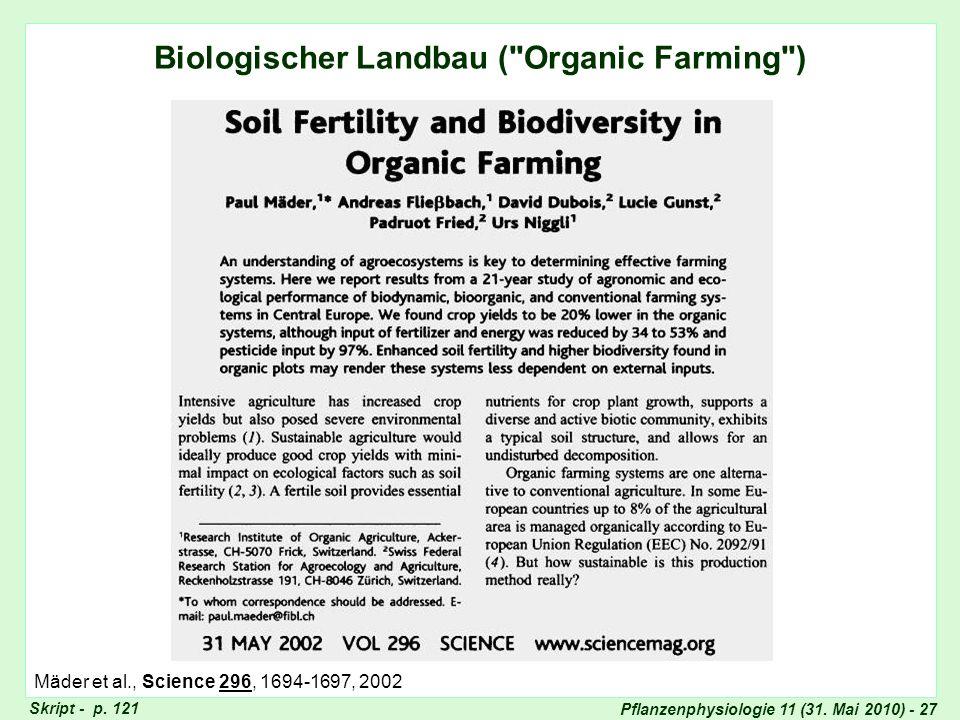Pflanzenphysiologie 11 (31. Mai 2010) - 27 Biologischer Landbau (