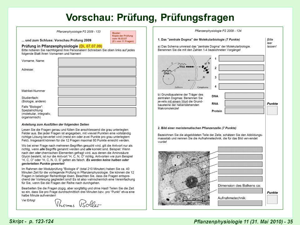Pflanzenphysiologie 11 (31. Mai 2010) - 35 Vorschau: Prüfung, Prüfungsfragen Vorschau: Prüfung, Prüfungsfragen (I) Skript - p. 123-124