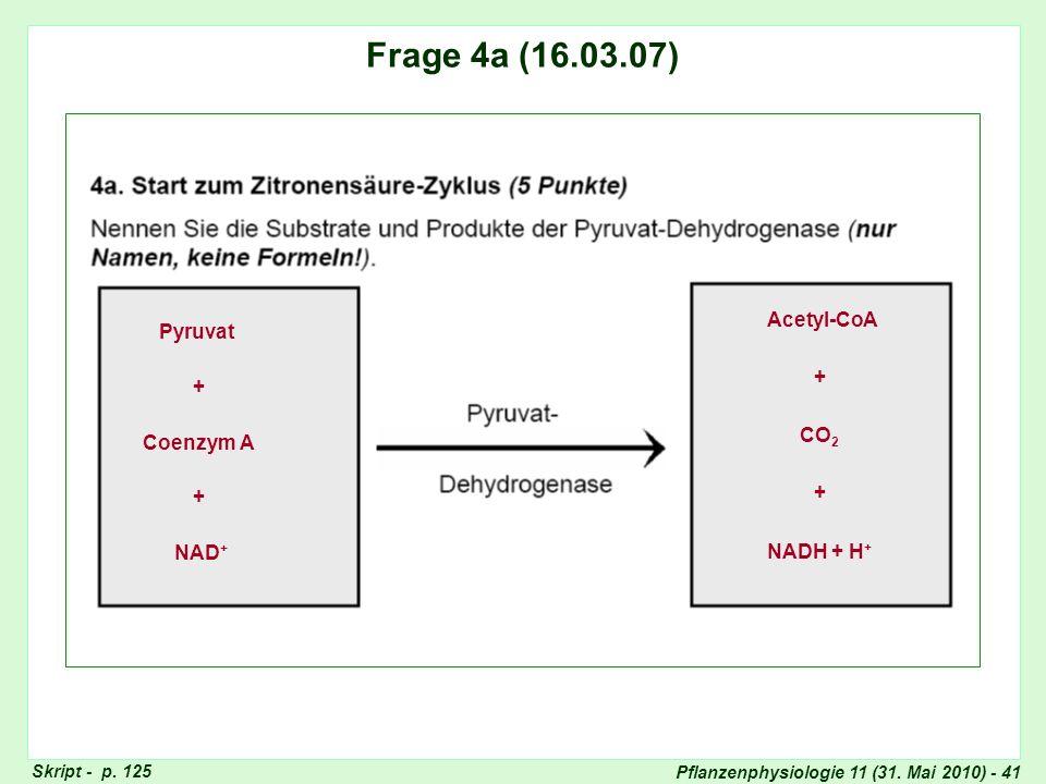 Pflanzenphysiologie 11 (31. Mai 2010) - 41 Frage 4: Saccharose-Bildung Frage 4a (16.03.07) Pyruvat + NAD + + Acetyl-CoA CO 2 Coenzym A + + NADH + H +