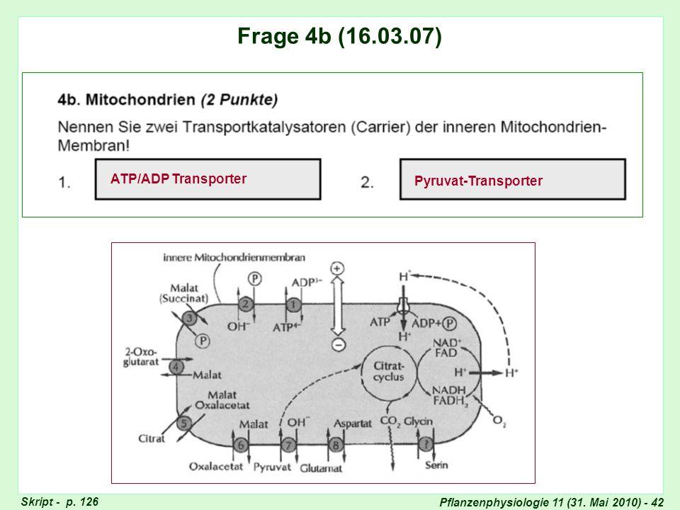 Pflanzenphysiologie 11 (31. Mai 2010) - 42 Frage 5: Assimilat-Transport Skript - p. 126 Frage 4b (16.03.07) ATP/ADP Transporter Pyruvat-Transporter