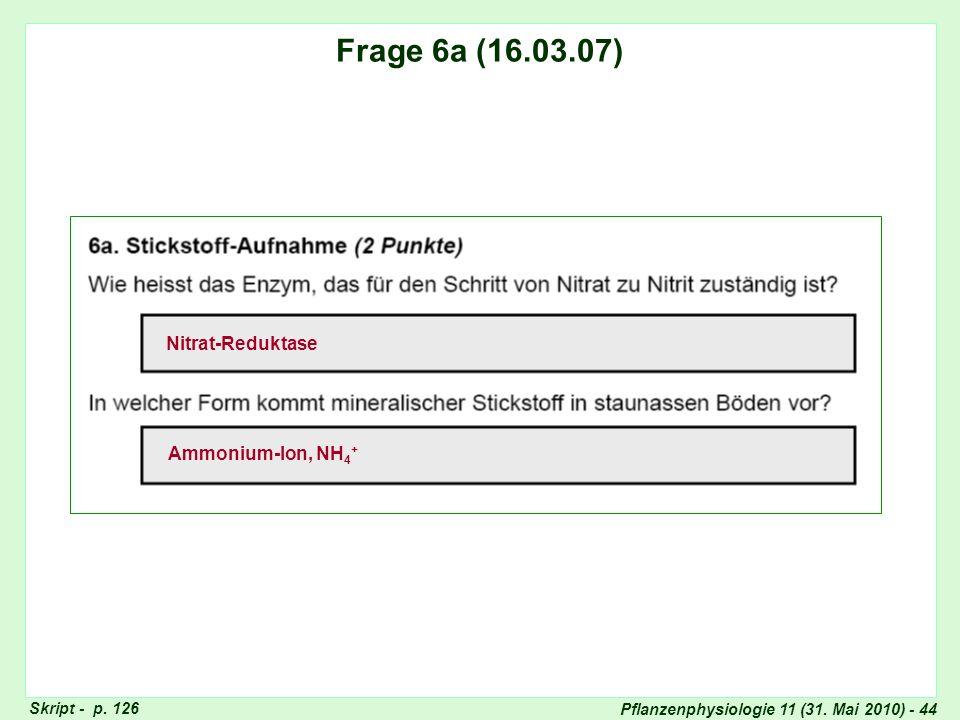 Pflanzenphysiologie 11 (31. Mai 2010) - 44 Frage 5: Assimilat-Transport Skript - p. 126 Frage 6a (16.03.07) Nitrat-Reduktase Ammonium-Ion, NH 4 +