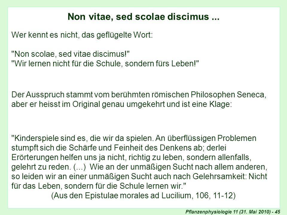 Pflanzenphysiologie 11 (31. Mai 2010) - 45 Non vitae, sed scolae discimus... In eigener Sache (II): Prüfungen