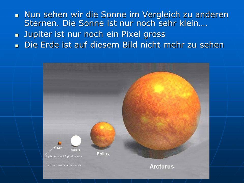 Nun sehen wir die Sonne im Vergleich zu anderen Sternen. Die Sonne ist nur noch sehr klein…. Nun sehen wir die Sonne im Vergleich zu anderen Sternen.