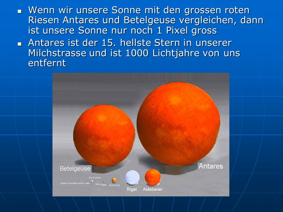 Wenn wir unsere Sonne mit den grossen roten Riesen Antares und Betelgeuse vergleichen, dann ist unsere Sonne nur noch 1 Pixel gross Wenn wir unsere So