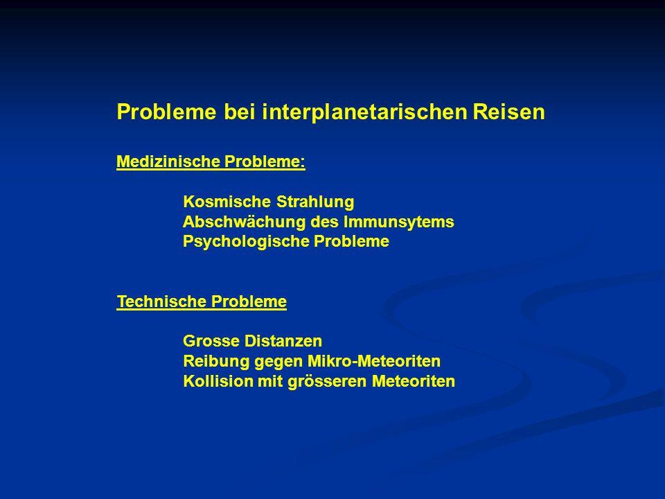 Probleme bei interplanetarischen Reisen Medizinische Probleme: Kosmische Strahlung Abschwächung des Immunsytems Psychologische Probleme Technische Pro