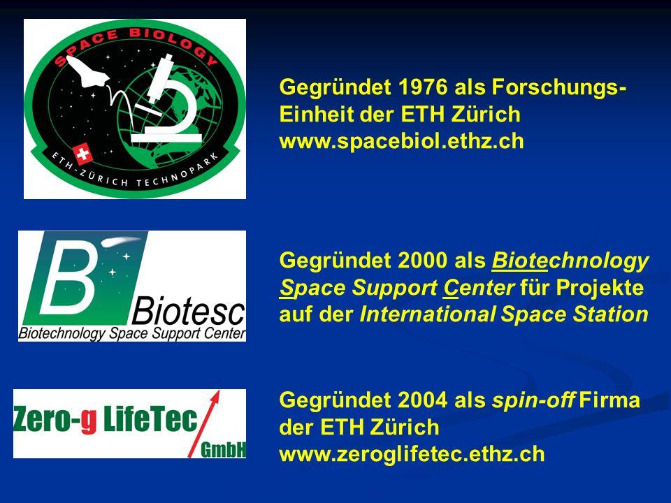 Gegründet 1976 als Forschungs- Einheit der ETH Zürich www.spacebiol.ethz.ch Gegründet 2004 als spin-off Firma der ETH Zürich www.zeroglifetec.ethz.ch