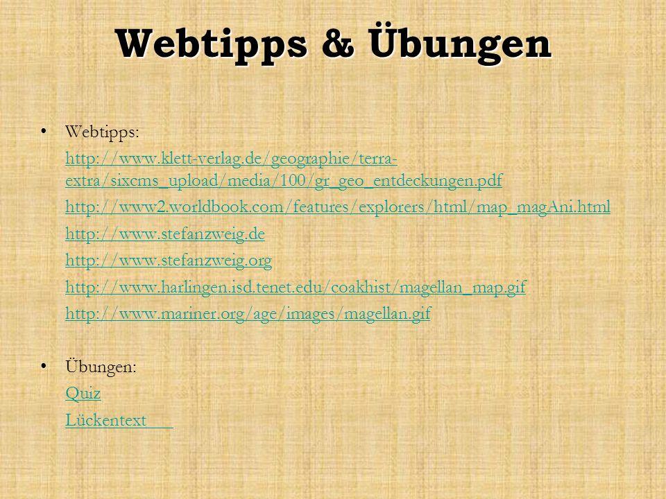 Webtipps & Übungen Webtipps: http://www.klett-verlag.de/geographie/terra- extra/sixcms_upload/media/100/gr_geo_entdeckungen.pdf http://www2.worldbook.