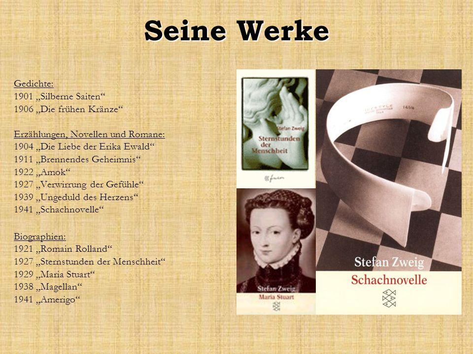 Seine Werke Gedichte: 1901 Silberne Saiten 1906 Die frühen Kränze Erzählungen, Novellen und Romane: 1904 Die Liebe der Erika Ewald 1911 Brennendes Geh