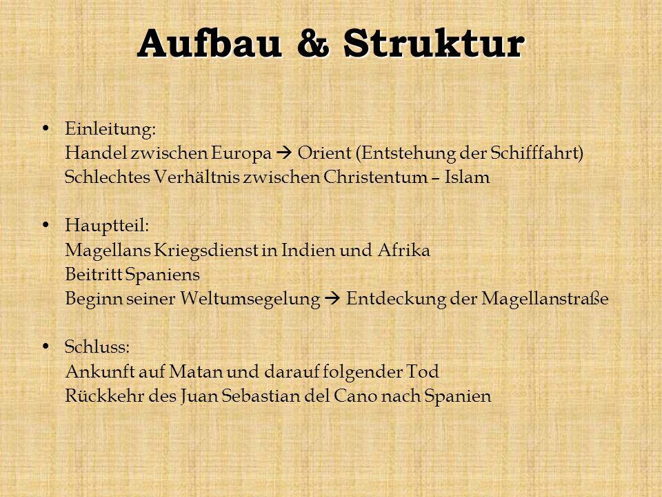 Aufbau & Struktur Einleitung: Handel zwischen Europa Orient (Entstehung der Schifffahrt) Schlechtes Verhältnis zwischen Christentum – Islam Hauptteil:
