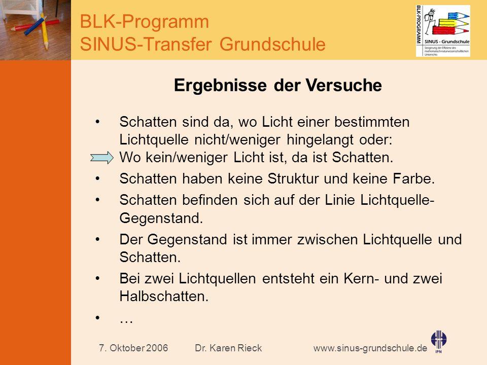 www.sinus-grundschule.de BLK-Programm SINUS-Transfer Grundschule Dr. Karen Rieck7. Oktober 2006 Ergebnisse der Versuche Schatten sind da, wo Licht ein
